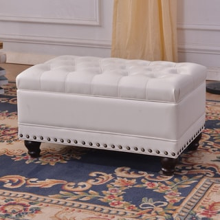 Luxury Comfort Collection Classic White Tufted Storage Bench Ottoman