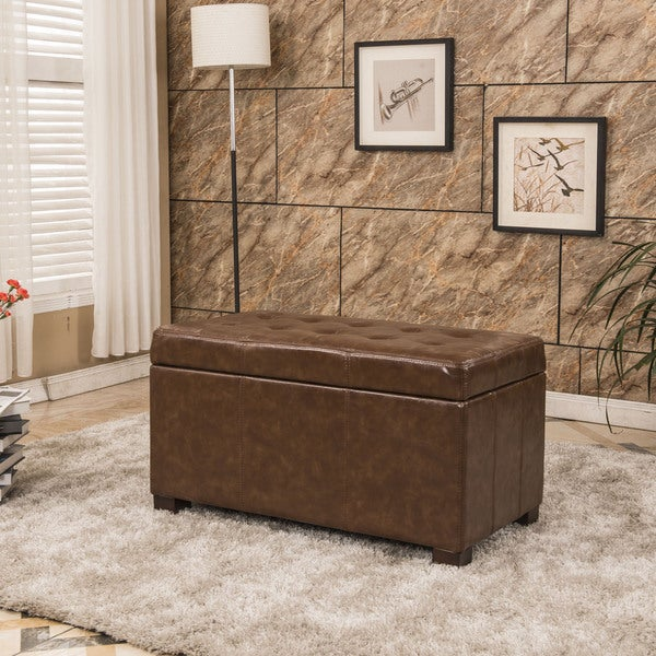 Traditional Waxed Texture Tufted Storage Bench Ottoman