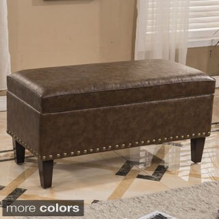 Traditional Faux Leather Storage Bench Ottoman