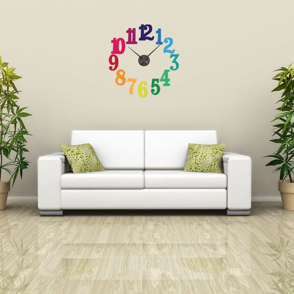 Colorful Numbers Vinyl Wall Decor with a Clock 15068062
