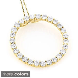 Luxurman 14k Gold 4 2/5ct TDW Diamond Circle of Love Necklace (H-I, VS1-VS2)