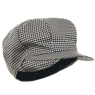 Adult Black and White Houndstooth Newsboy Cap