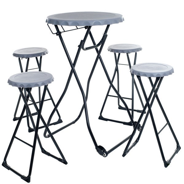 Bottle Cap Portable Picnic Table Set with 4 Stools