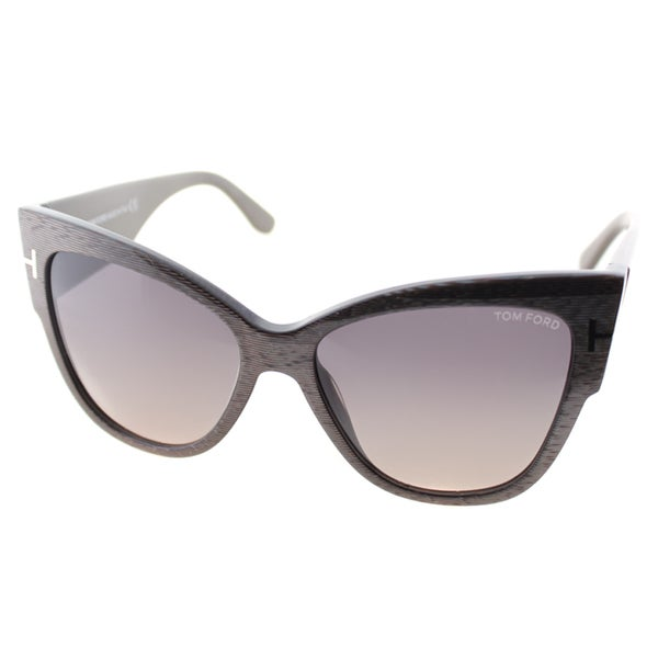 Tom Ford Anoushka Womens TF 371 38B Dove Grey Plastic Cat-Eye Sunglasses