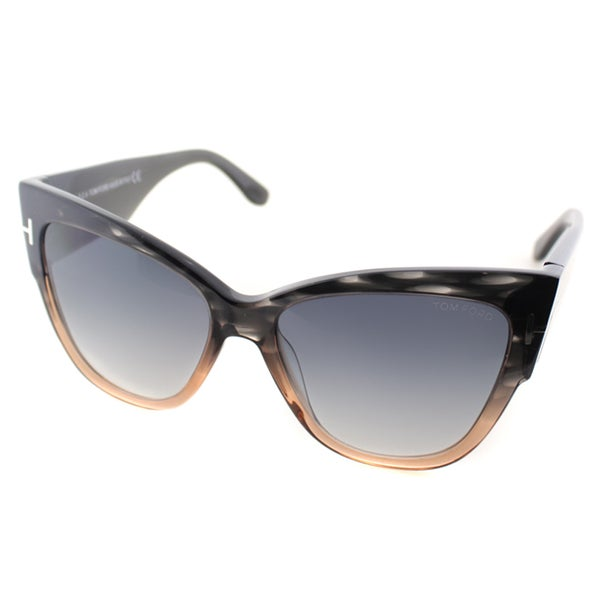 Tom Ford Anoushka Womens TF 371 20B Melange Grey Peach Plastic Cat-Eye Sunglasses