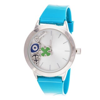 Fortune NYC Women's Boyfriend Floating anchor, eye Silver Case with Turquoise Rubber Strap Watch