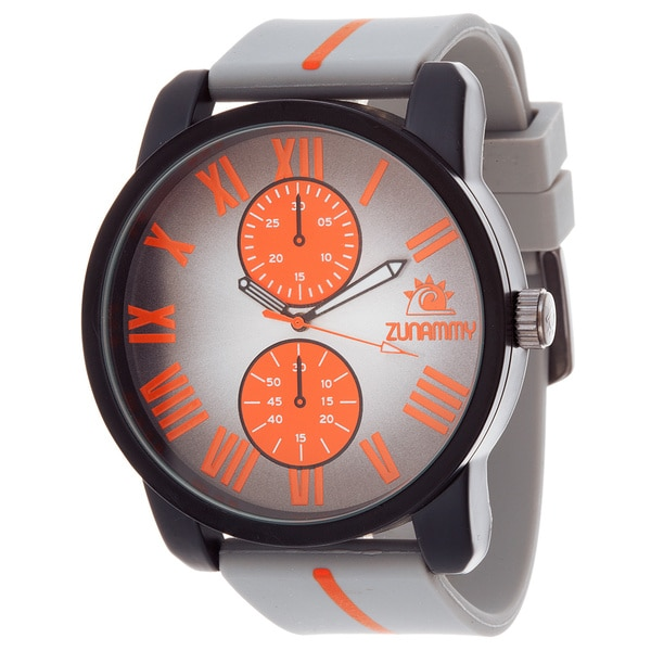 Zunammy Men's Matte Black Case & Grey Dial with Orange Strap Watch