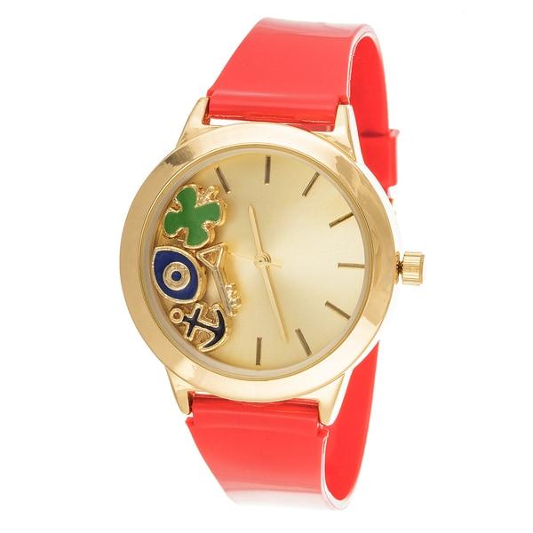 Fortune NYC Ladies Boyfriend Floating anchor, eye Gold Case with Orange Rubber Strap Watch