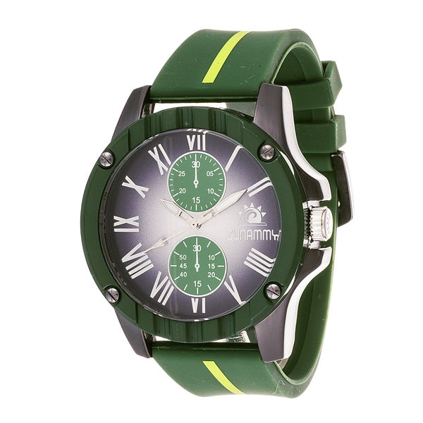 Zunammy Men's Gun Metal Case and Black Dial with Green Rubber Strap Watch