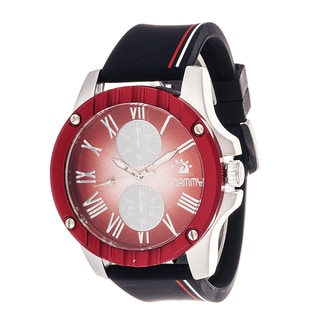 Zunammy Sport Men's Silver Case and Red Dial with Strip Strap Watch
