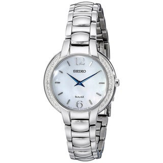 Seiko Women's SUP253 Stainless Steel and Diamond Solar Watch