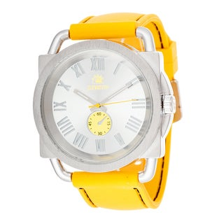 Zunammy Men's Silver Case with Yellow Rubber Strap Watch