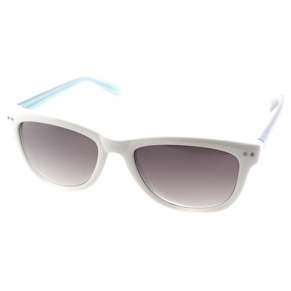 Cole Haan Womens C 6069 80 White And Transparent Blue Plastic Rectangle Sunglasses