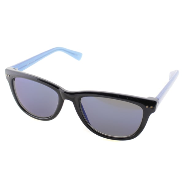 Cole Haan Womens C 6069 13 Black And Transparent Blue Plastic Rectangle Sunglasses