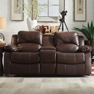 TRIBECCA HOME Coleford Brown Faux Leather Double Reclining Loveseat with Storage Console