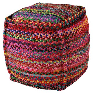 "22"" Brilliant Ribbon Cotton Pouf Ottoman"