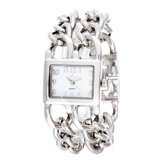 Via Nova Women's Silver with 2 Rows Oval Link Chain Square Watch