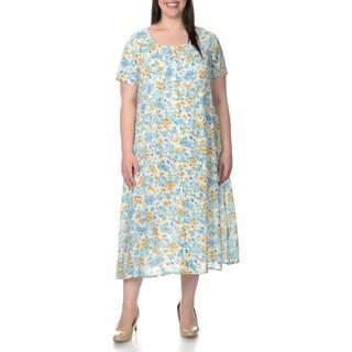 La Cera Women's Plus Size Floral Pint Short Sleeve Casual Dress