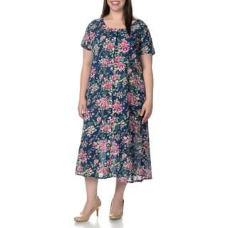 La Cera Women's Plus Size Floral Pint Short Sleeve Casual House Dress