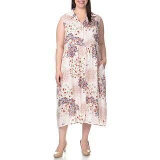 La Cera Women's Plus Size Floral Print Sleeveless Dress