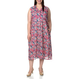 La Cera Women's Plus Size Floral Print Sleeveless Casual Red Dress