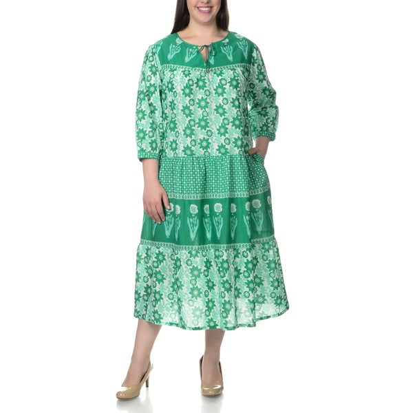 La Cera Women's Plus Size Novelty Floral Print 3/4-length Sleeve Green Dress