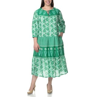 La Cera Women's Plus Size Novelty Floral Print 3/4-length Sleeve Green Dress