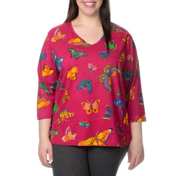 La Cera Women's Plus Size 3/4 Sleeved Butterfly Print T-Shirt