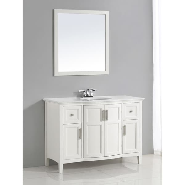 WYNDENHALL Salem 48-inch White Rounded Front Bath Vanity with White Quartz Marble Top