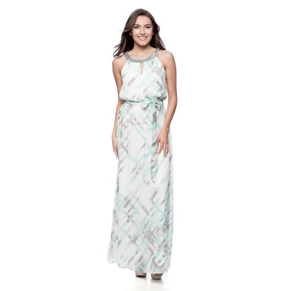 Vince Camuto Missy Sleeveless Maxi Dress with Beaded Neck