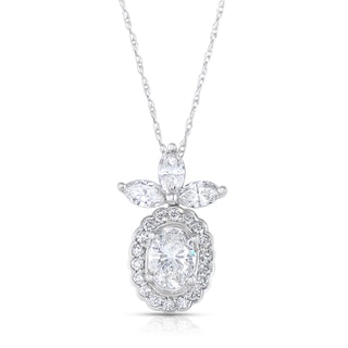 14k White Gold 1 3/5ct TDW Diamond Floral Necklace (H-I, I1-I2)