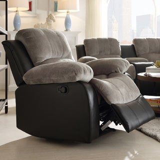 TRIBECCA HOME Coleford Two-tone Grey Black Tufted Transitional Reclining Chair