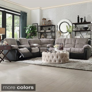 TRIBECCA HOME Coleford Tufted Transitional Storage Console Reclining Sectional