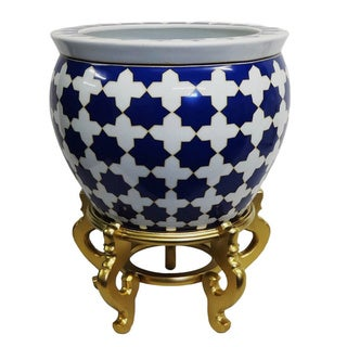 Blue Star Porcelain Fishbowl with Gold Stand