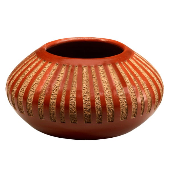 Pottery - Red Etched Stripes Decorative Vase