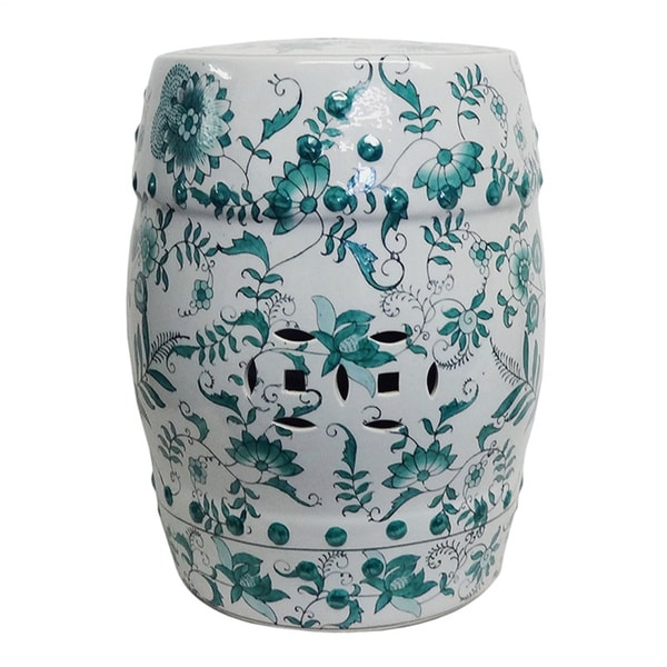 Evergreen Porcelain Garden Stool