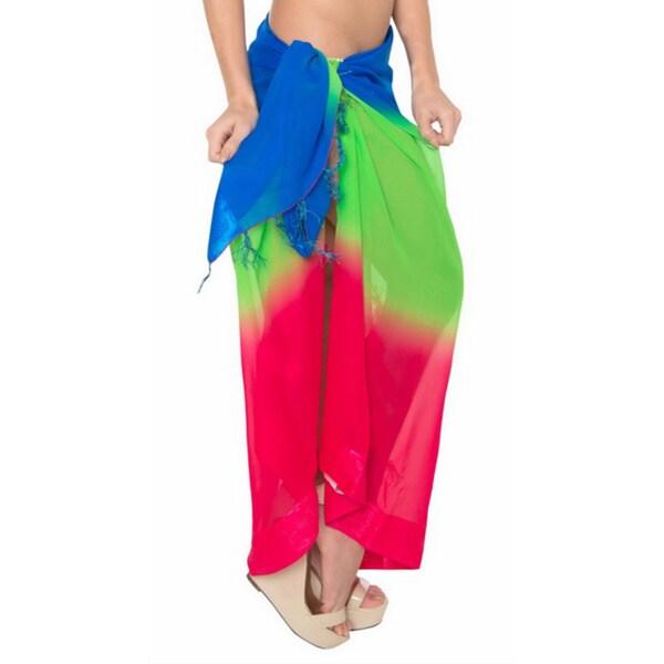 La Leela Trio Blue/ Green/ Pink Swim Hawaiian Sarong Cover up Tunic