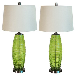 Casa Cortes Milos Green 3-way Switch 32-inch Glass Table Lamp (Set of 2)
