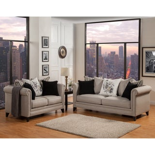 Furniture of America Annetta Neutral 2-Piece Sofa and Loveseat Set