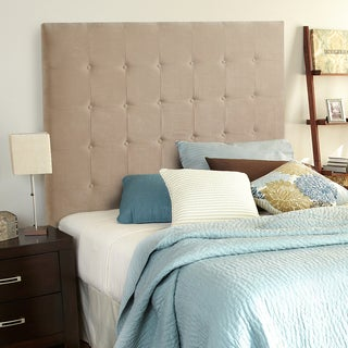 Humble + Haute Stratton Velvet Sand Tall Queen Tufted Upholstered Headboard