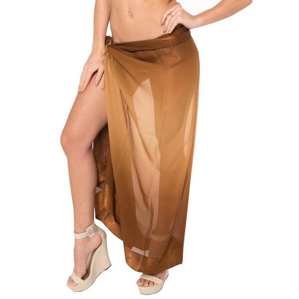 La Leela Brown Jacquard Border Beach Wrap Sheer Chiffon Swim Hawaiian Sarong Cover up Tunic