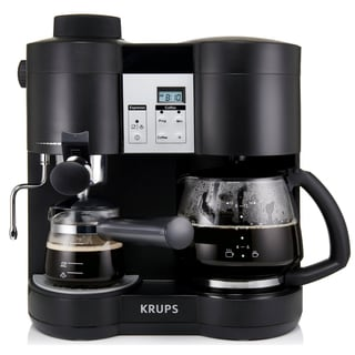 KRUPS XP1600 Black Coffee Maker and Espresso Machine Combination (Refurbished)