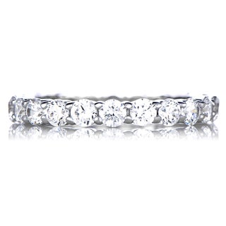 Sterling Silver Cubic Zirconia Stackable Eternity Band Ring