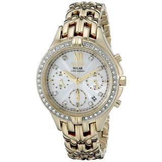 Seiko Women's SSC876 Gold Tone Stainless Steel Solar Chronograph Watch