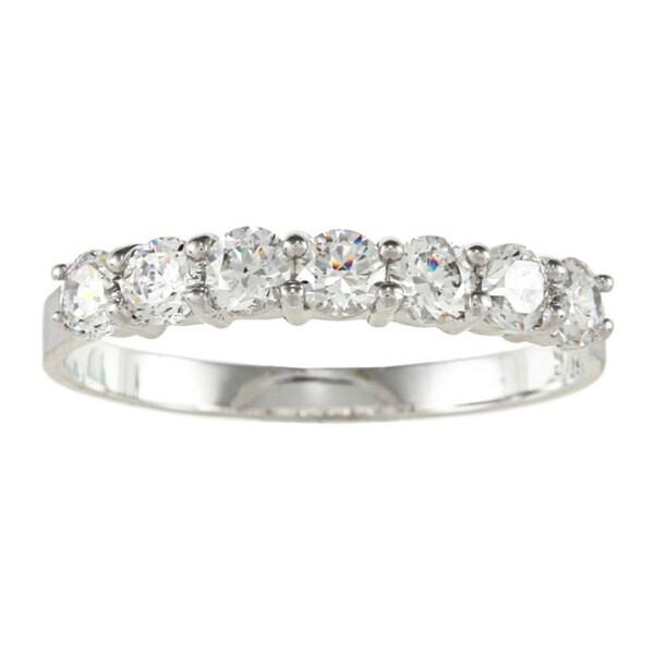 New York City Diamond District 14k White Gold 12 Cttw Double Row Diamond Pave Wedding Band Size 55