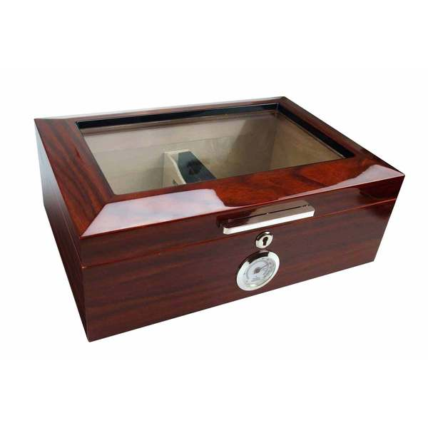 Visol Morello Cherry Finish Glass Top Cigar Humidor (Holds 100 Cigars)