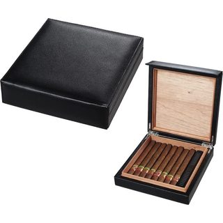 Visol Black Leather Cigar Humidor (Holds 16 Cigars)