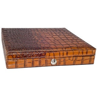 Visol Brown Crocodile Patterned Leather Travel Cigar Case (Holds 10 Cigars)