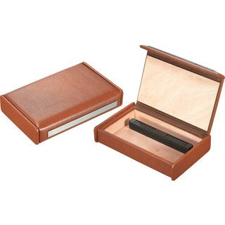 Visol Russell Brown Leather Travel Cigar Humidor (Holds 7 Cigars)