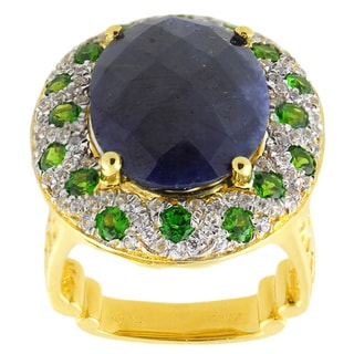 Dallas Prince Sterling Silver 13 1/4 ctw Blue Sapphire, White Zircon and Chrome Diopside Ring